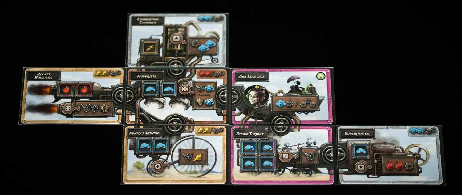 Card design in Steampunk Rally