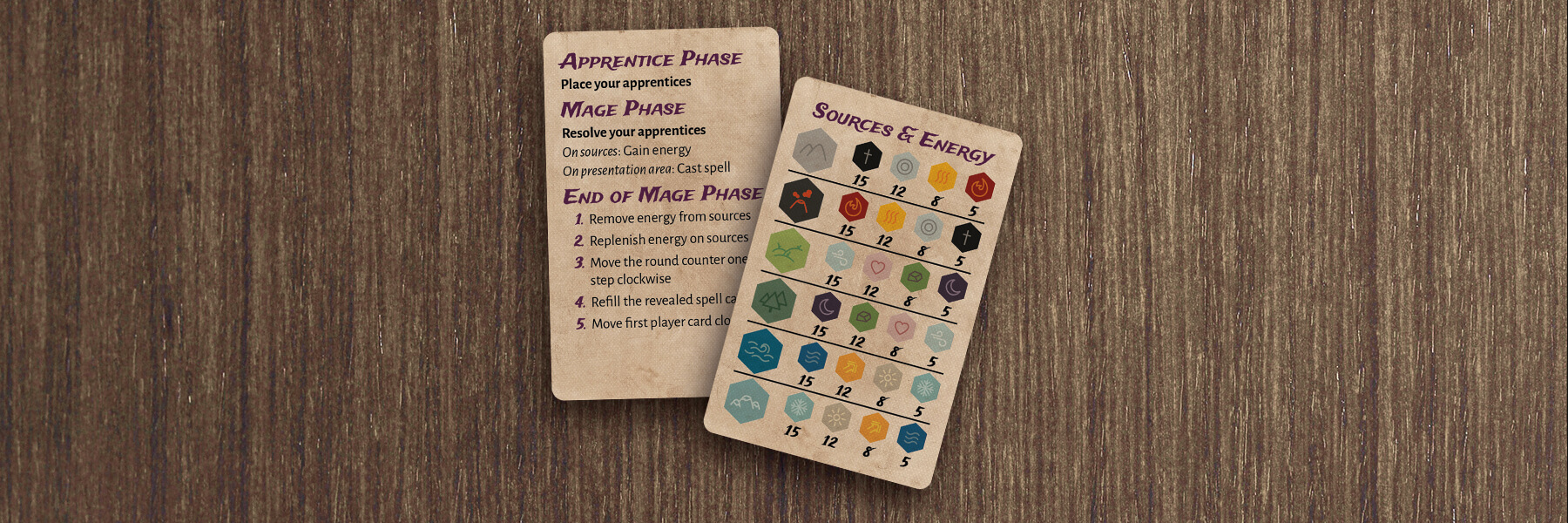 Hexed reference cards